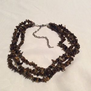 Jewelry - Tiger's Eye Chip Multi Strand Bib Necklace